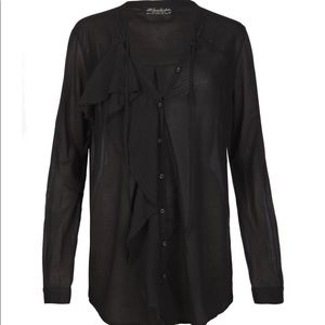 All Saints Ercolie black cotton shirt UK 12
